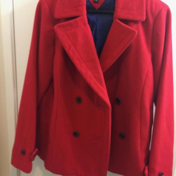 Tommy Hilfiger Jackets & Blazers - red wool topper, jacket, Tommy Hilfiger